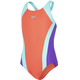 speedo Contrast Panel Splashback Swimsuit Girls Watermelon/Spearmint/Violet